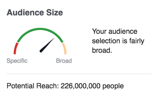 Digital Marketing Audience Size Chart